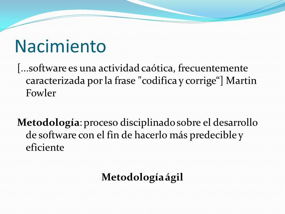 Nacimiento [...software es una actividad caótica, frecuentemente caracterizada por la frase codifica y corrige ] Martin Fowler.